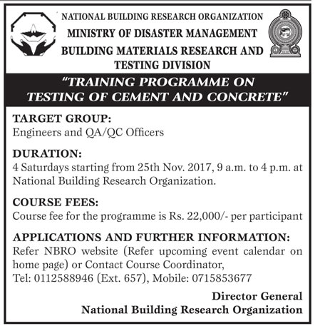 Training Programme on Testing Cement & Concrete - National